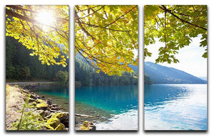 Autumn sun flare on lake 3 Split Panel Canvas Print - Canvas Art Rocks - 1