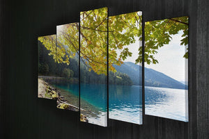 Autumn sun flare on lake 5 Split Panel Canvas  - Canvas Art Rocks - 2