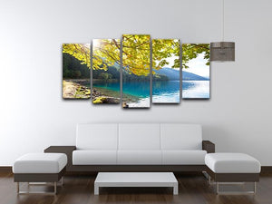 Autumn sun flare on lake 5 Split Panel Canvas  - Canvas Art Rocks - 3