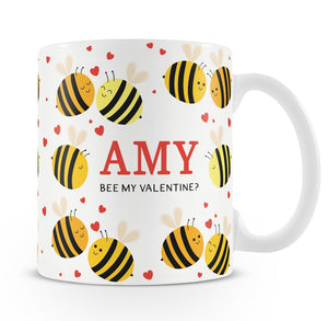 Personalised Bee My Valentine Mug