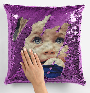 Photo Upload Baby Sequin Magic Cushion