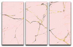 Baby Pink and Gold Marble 3 Split Panel Canvas Print - Canvas Art Rocks - 1