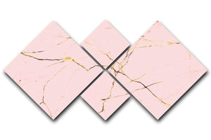 Baby Pink and Gold Marble 4 Square Multi Panel Canvas - Canvas Art Rocks - 1
