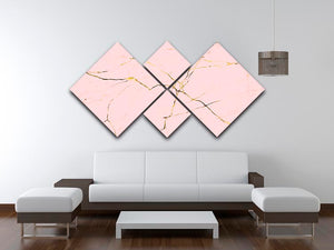 Baby Pink and Gold Marble 4 Square Multi Panel Canvas - Canvas Art Rocks - 3