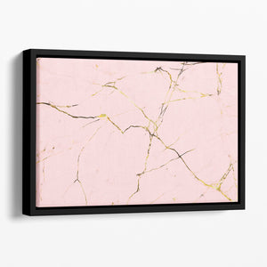 Baby Pink and Gold Marble Floating Framed Canvas - Canvas Art Rocks - 1
