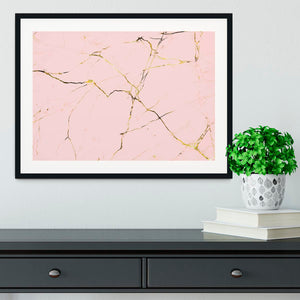 Baby Pink and Gold Marble Framed Print - Canvas Art Rocks - 1