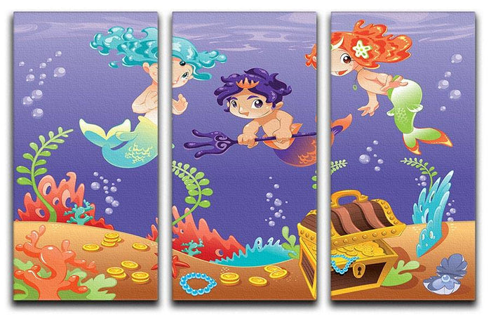 Baby Sirens and Baby Triton 3 Split Panel Canvas Print