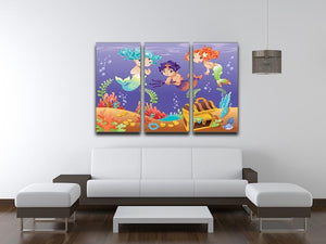 Baby Sirens and Baby Triton 3 Split Panel Canvas Print - Canvas Art Rocks - 3