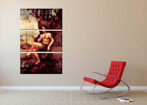 Bacchus by Da Vinci 3 Split Panel Canvas Print - Canvas Art Rocks - 2