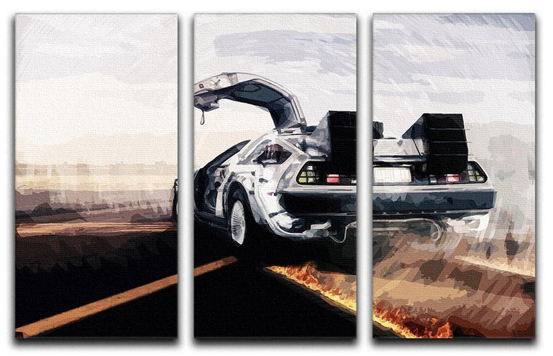 Back To The Future DeLorean 3 Split Panel Canvas Print - Canvas Art Rocks