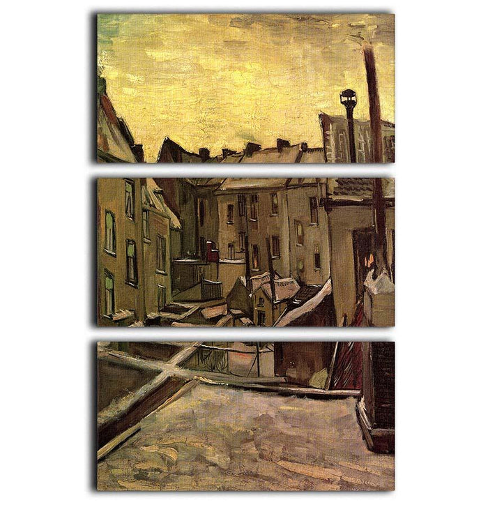 Backyards of Old Houses in Antwerp in the Snow by Van Gogh 3 Split Panel Canvas Print