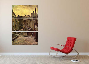 Backyards of Old Houses in Antwerp in the Snow by Van Gogh 3 Split Panel Canvas Print - Canvas Art Rocks - 2