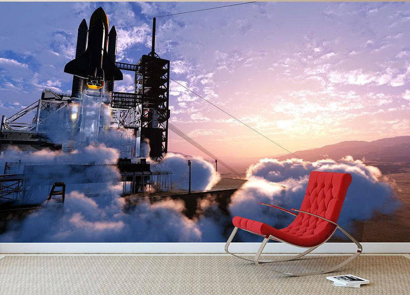 Baikonur with the spacecraft against the sky Wall Mural Wallpaper - Canvas Art Rocks - 1