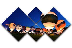 Balloons at night 4 Square Multi Panel Canvas - Canvas Art Rocks - 1
