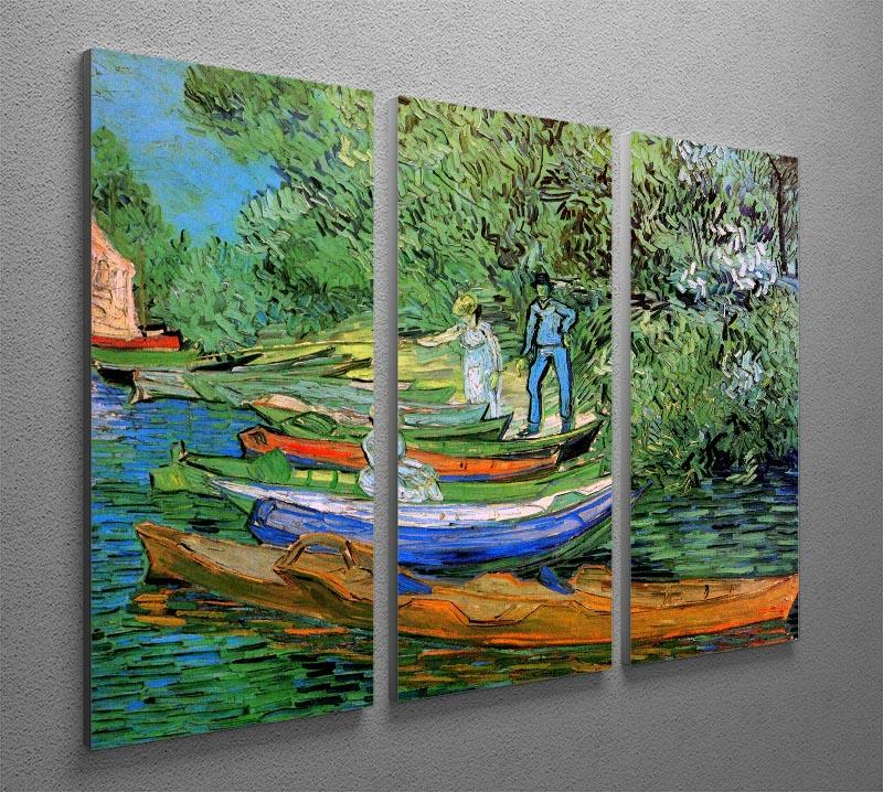 Bank of the Oise at Auvers by Van Gogh 3 Split Panel Canvas Print - Canvas Art Rocks - 4