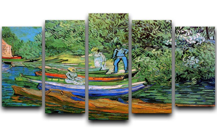 Bank of the Oise at Auvers by Van Gogh 5 Split Panel Canvas