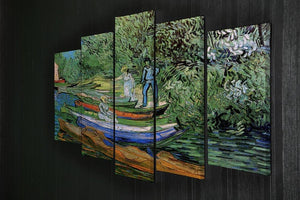 Bank of the Oise at Auvers by Van Gogh 5 Split Panel Canvas - Canvas Art Rocks - 2