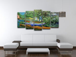Bank of the Oise at Auvers by Van Gogh 5 Split Panel Canvas - Canvas Art Rocks - 3