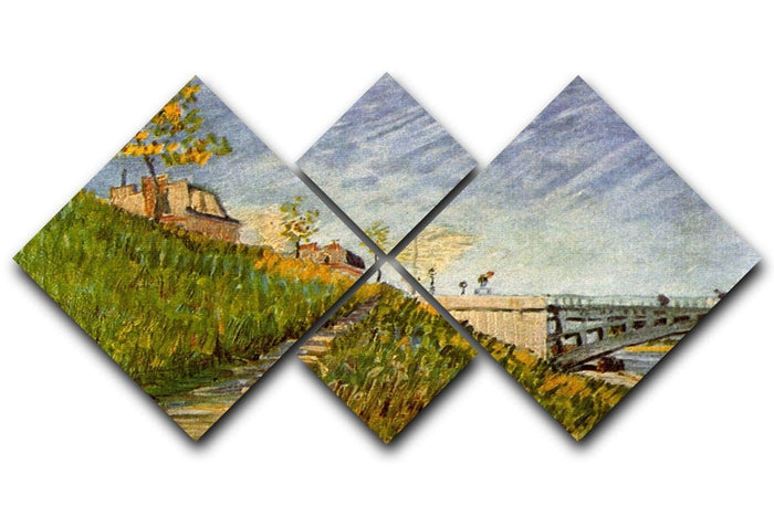 Banks of the Seine with Pont de Clichy by Van Gogh 4 Square Multi Panel Canvas
