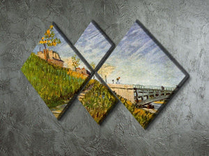 Banks of the Seine with Pont de Clichy by Van Gogh 4 Square Multi Panel Canvas - Canvas Art Rocks - 2