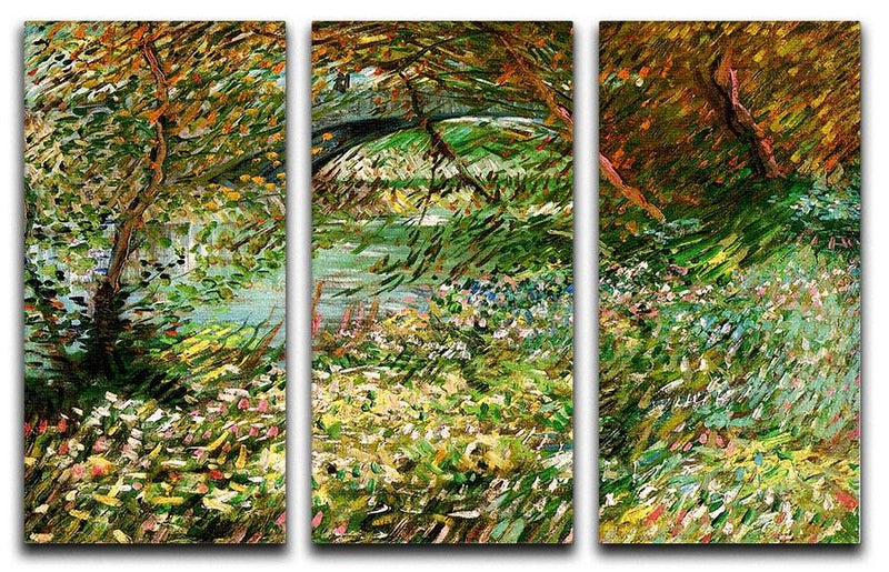 Banks of the Seine with Pont de Clichy in the Spring by Van Gogh 3 Split Panel Canvas Print - Canvas Art Rocks - 4