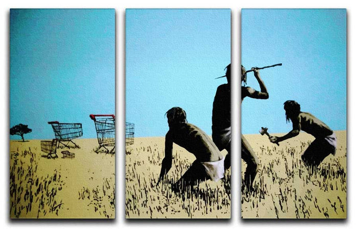 Banksy Aborigine Hunters 3 Split Panel Canvas Print