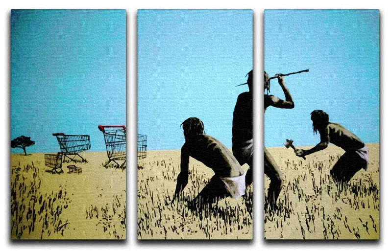 Banksy Aborigine Hunters Split-Panel Canvas Print - Canvas Art Rocks