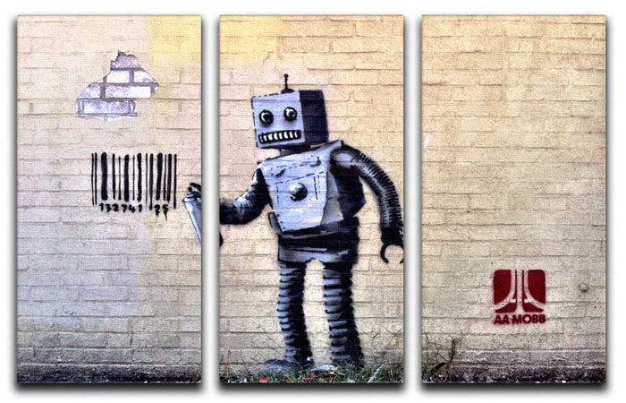 Banksy Barcode Robot 3 Split Panel Canvas Print
