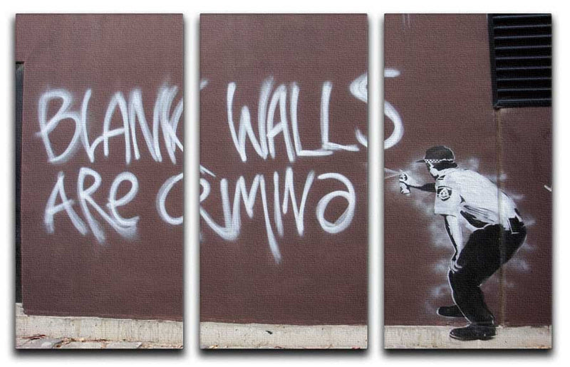 Banksy Blank Walls Are Criminal Split-Panel Canvas Print - Canvas Art Rocks