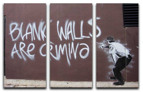 Banksy Blank Walls Are Criminal Split-Panel Canvas Print - They'll Love Wall Art