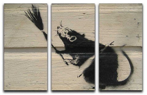 Banksy Rat With Broom 3 Split Canvas Print - They'll Love Wall Art