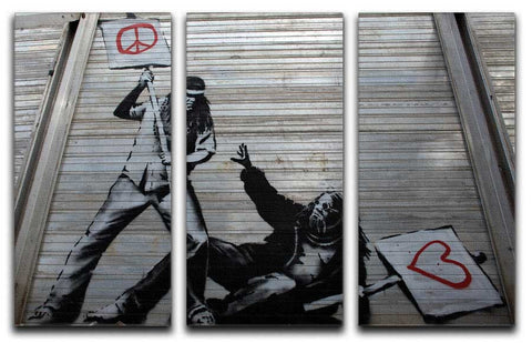 Banksy CND Protesters Split-Panel Canvas Print - They'll Love It