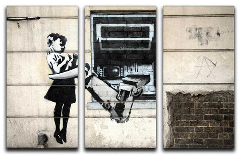 Banksy Cash Machine Girl Split-Panel Canvas Print - They'll Love Wall Art