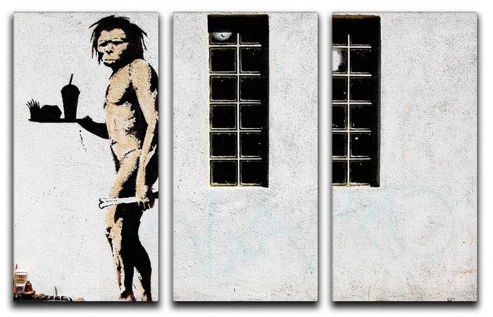 Banksy Caveman Takeaway 3 Split Panel Canvas Print
