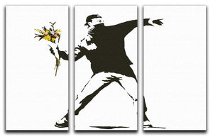 Banksy Flower Thrower Split-Panel Canvas Print - Canvas Art Rocks