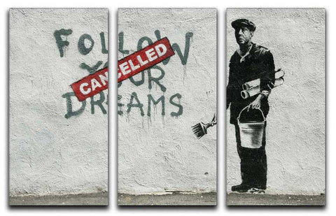 Banksy Follow Your Dreams - Cancelled Split-Panel Canvas Print - They'll Love Wall Art