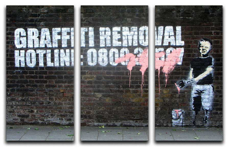 Banksy Graffiti Removal Hotline Split-Panel Canvas Print - Canvas Art Rocks