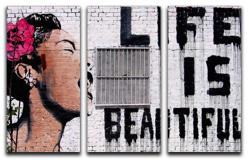 Banksy Life is Beautiful V2 Split-Panel Canvas Print - Canvas Art Rocks