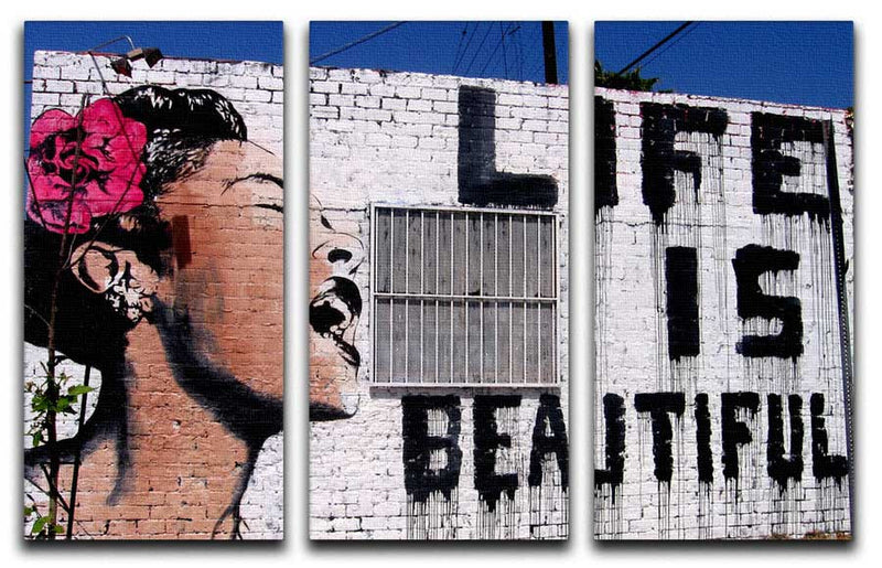 Banksy Life is Beautiful Split-Panel Canvas Print - Canvas Art Rocks