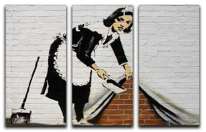 Banksy Sweeping Maid 3 Split Canvas Print