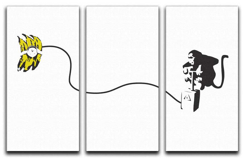 Banksy Monkey Banana Bomb Split-Panel Canvas Print - Canvas Art Rocks