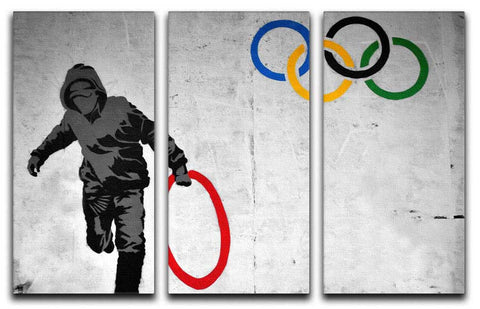 Banksy Olympic Rings Split-Panel Canvas Print - They'll Love Wall Art