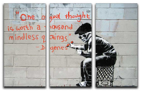 Banksy One Original Thought Split-Panel Canvas Print - They'll Love Wall Art