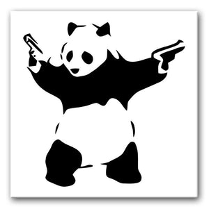 Banksy Panda with Guns Print - Canvas Art Rocks - 1