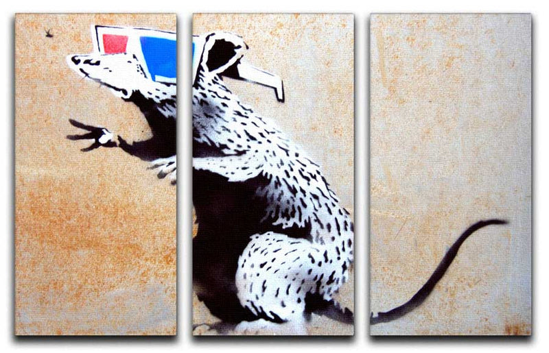 Banksy Rat Wearing 3D Glasses 3 Split Canvas Print - Canvas Art Rocks