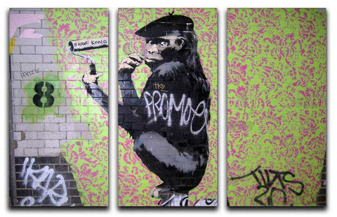 Banksy Shave Kong 3 Split Canvas Print - They'll Love Wall Art