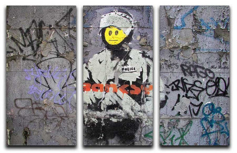 Banksy Riot Cop Split-Panel Canvas Print - They'll Love Wall Art