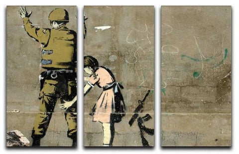 Banksy Stop and Search 3 Split Canvas Print - They'll Love Wall Art