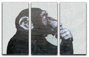 Banksy Thinking Monkey 3 Split Canvas Print - Canvas Art Rocks
