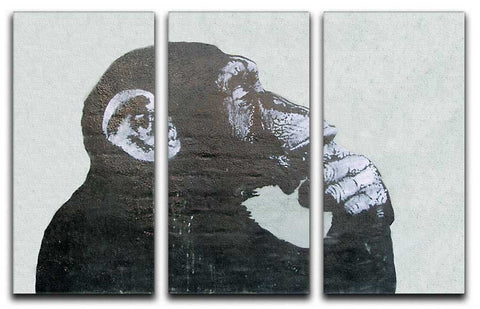 Banksy Thinking Monkey 3 Split Canvas Print - They'll Love Wall Art